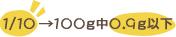 1/10→100g中0.9g以下